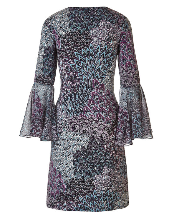 Peacock Printed Bell Sleeve Dress, Blue/Purple, hi-res