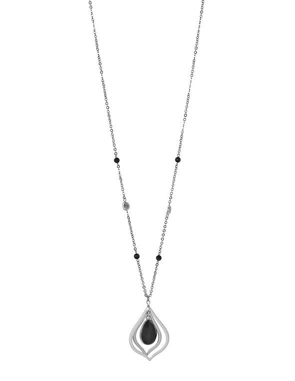 Black Cat Eye Necklace, Black, hi-res