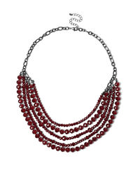 Dark Red Faceted Bead Necklace