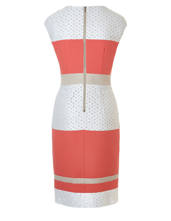 Coral Striped Sheath Dress, Coral/Nude/White, hi-res