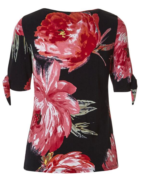 Pink Floral Tie Sleeve Top, Black/Pink Floral, hi-res
