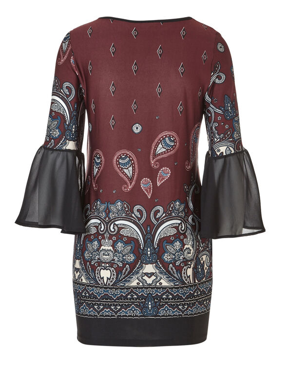 Bell Sleeve Claret Tunic, Claret Print, hi-res