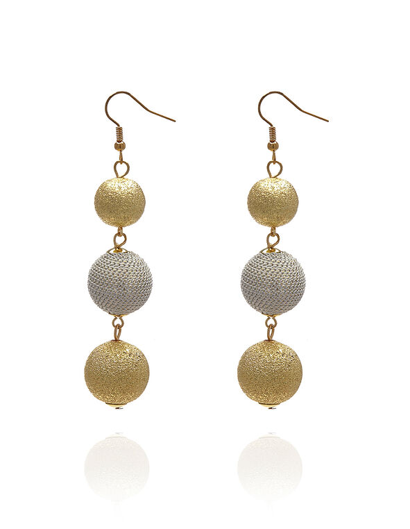 Ball Drop Earring, Gold/Silver, hi-res