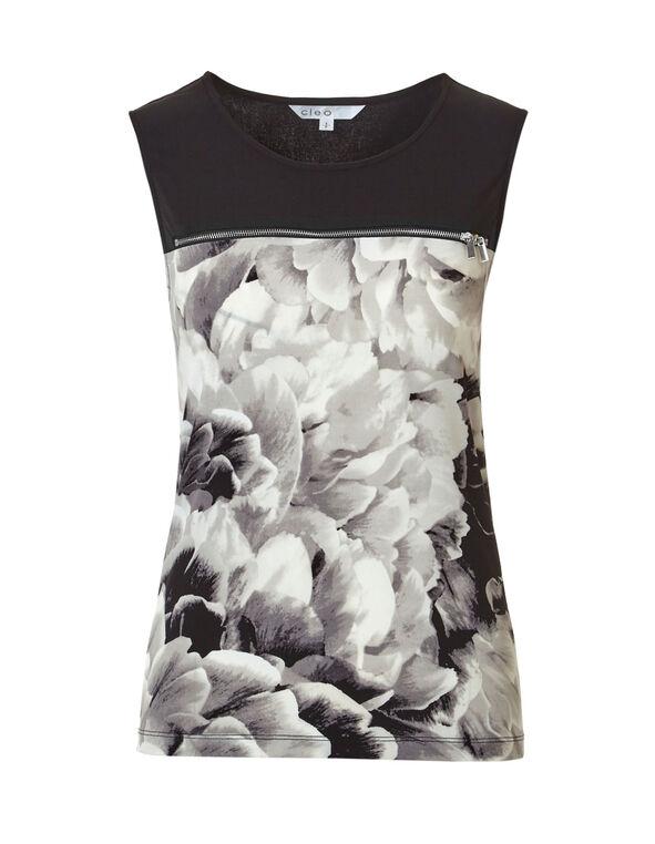 Grey Floral Print Zipper Top, Grey/Ivory, hi-res