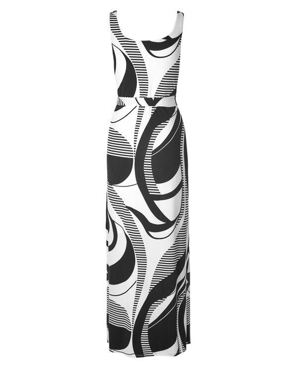 Patterned Maxi Dress, Black/White, hi-res