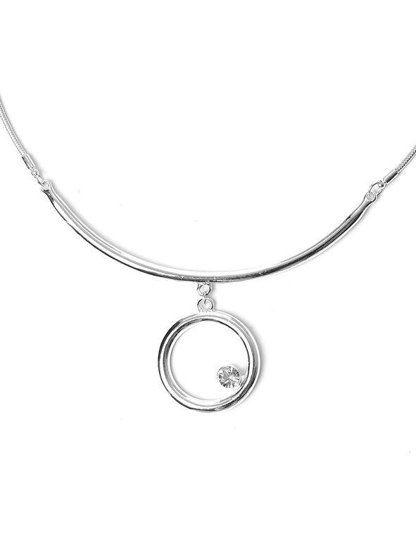 Silver Circle Collar Necklace, Silver, hi-res