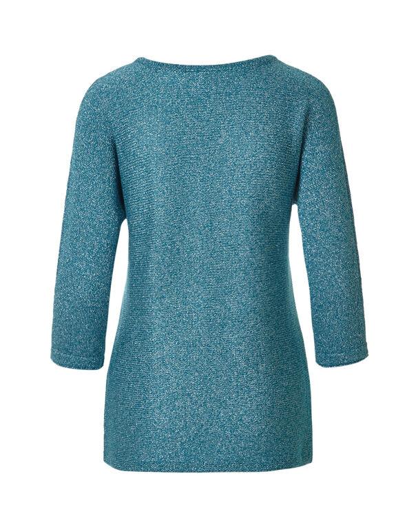 Peacock Metallic Pullover Sweater, Peacock, hi-res