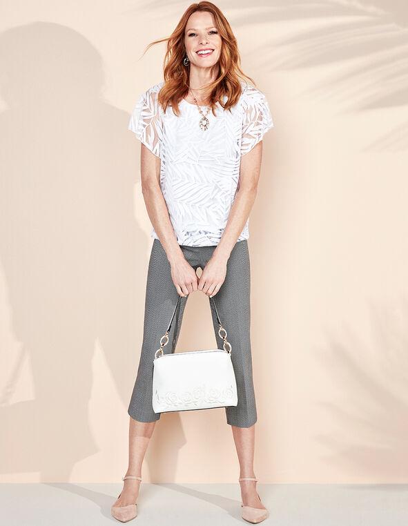Soft White Embroidered Satchel, White, hi-res