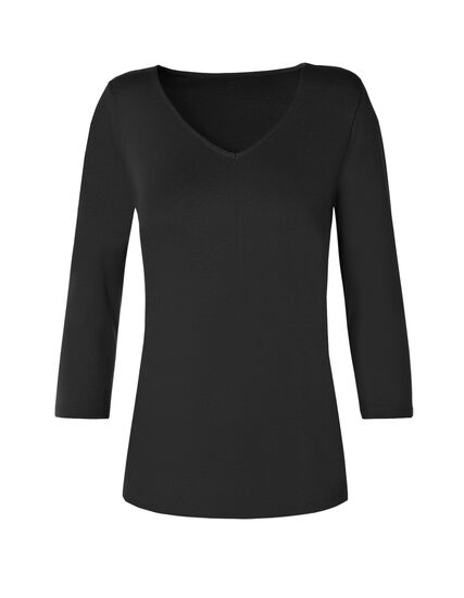 3/4 Sleeve V-Neck Tee, Black, hi-res