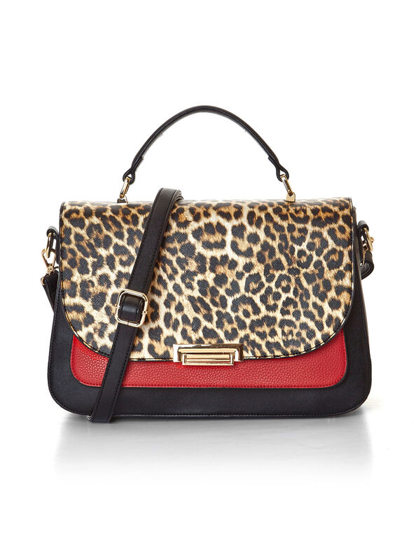 Leopard Print Handbag, Black, hi-res