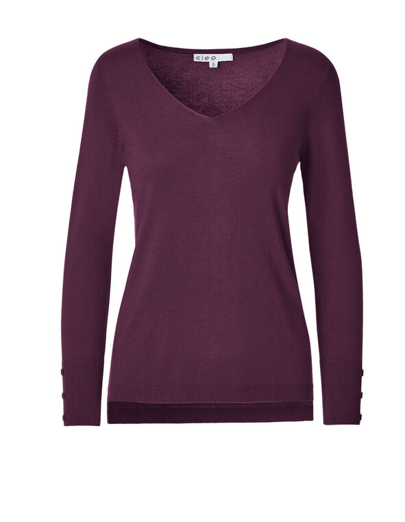 Raspberry Melange V-Neck Sweater, Raspberry Melange, hi-res