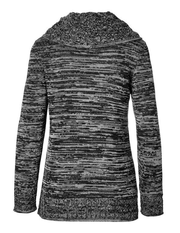 Black Crochet Hem Sweater, Black, hi-res