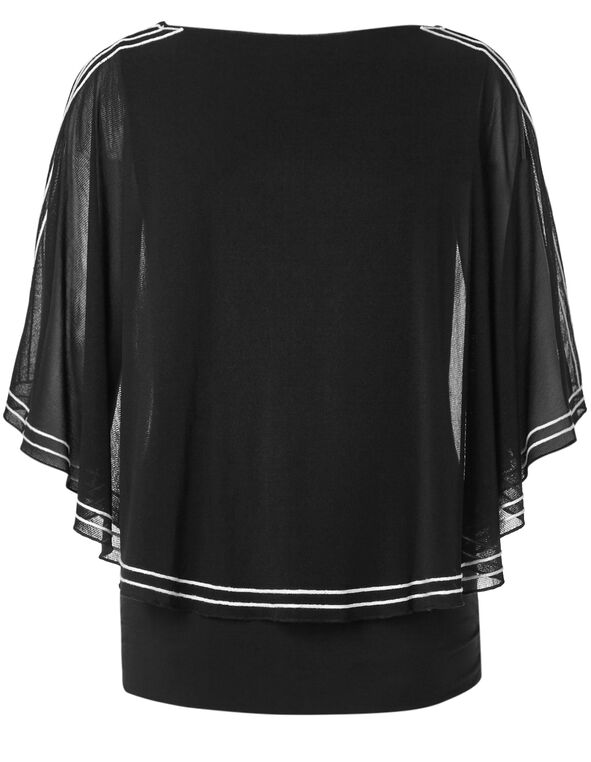 Black Embroidered Caftan, Black/White, hi-res