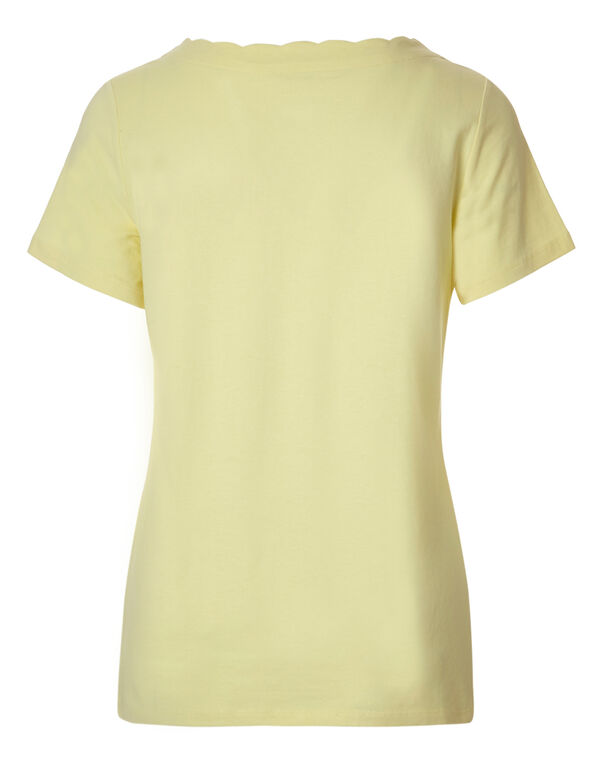 Yellow Scalloped Tee, Yellow, hi-res