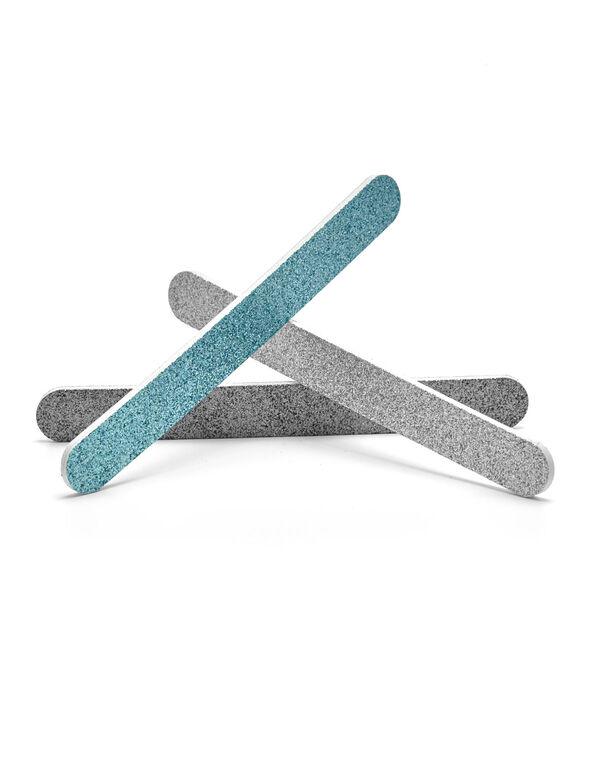Blue Glitter Nail File Trio, Blue, hi-res