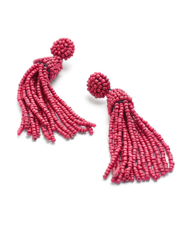 Coral Seed Bead Earring, Coral, hi-res