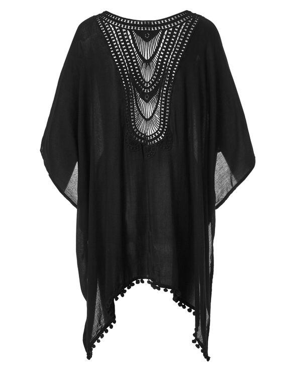 Black Pom Pom Kimono, Black, hi-res