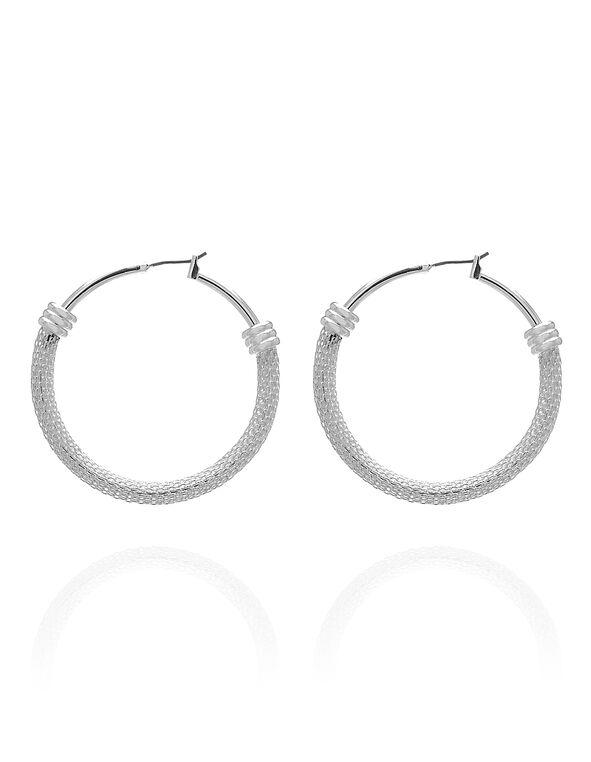 Silver Mesh Hoop Earring, Silver, hi-res