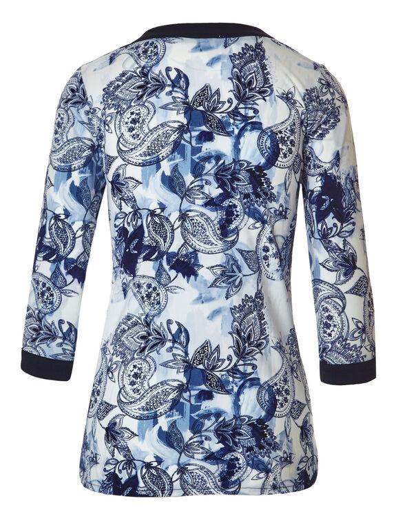Blue Floral Paisley Peasant Top, Blue Print, hi-res