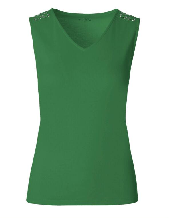 Emerald Sleeveless Cotton Tee, Emerald, hi-res