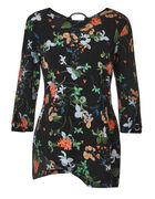 Black Floral Asymmetrical Tunic, Black Floral, hi-res