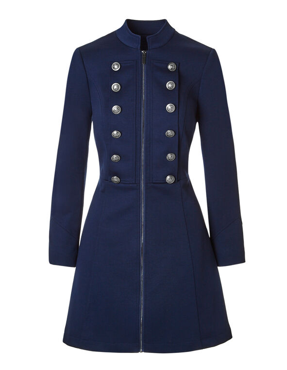 Dark Blue Long Military Blazer, Dark Blue, hi-res