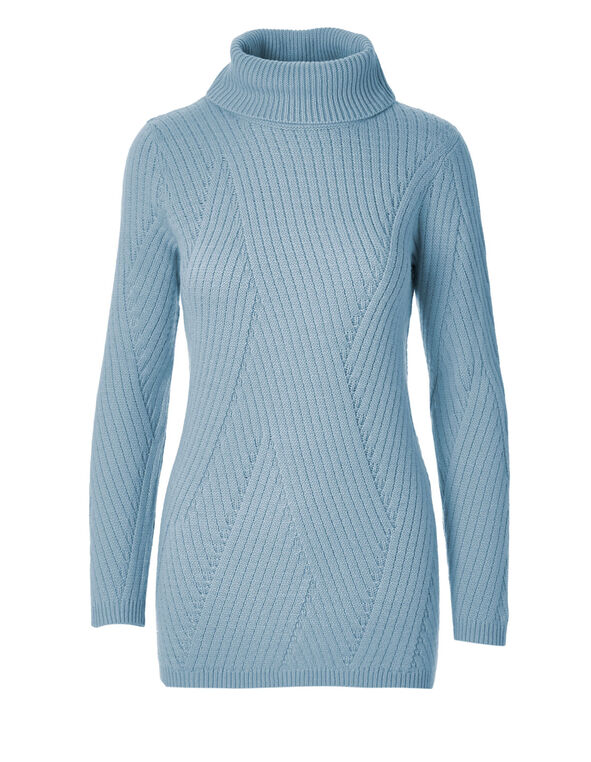 Blue Turtleneck Sweater, Blue, hi-res