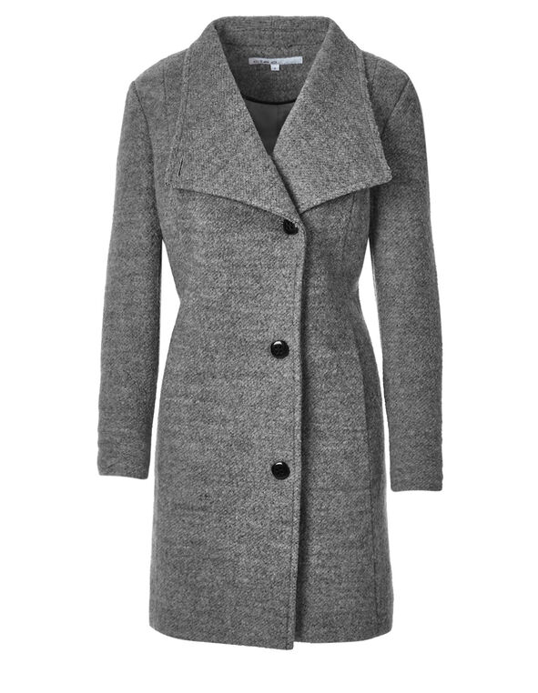 Grey Asymmetric Wool Coat, Light Grey, hi-res