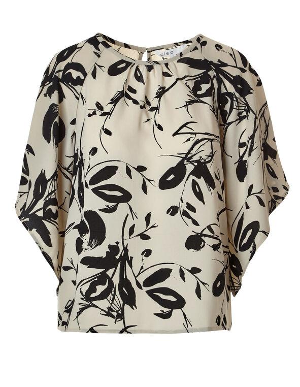 Neutral Kimono Sleeve Blouse, Neutral/Black, hi-res