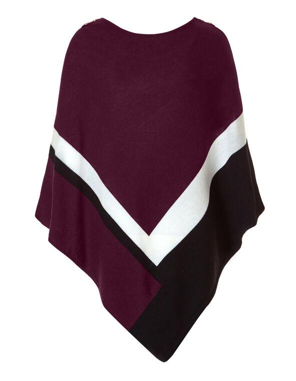Claret Button Poncho Sweater, Claret/Black/White, hi-res