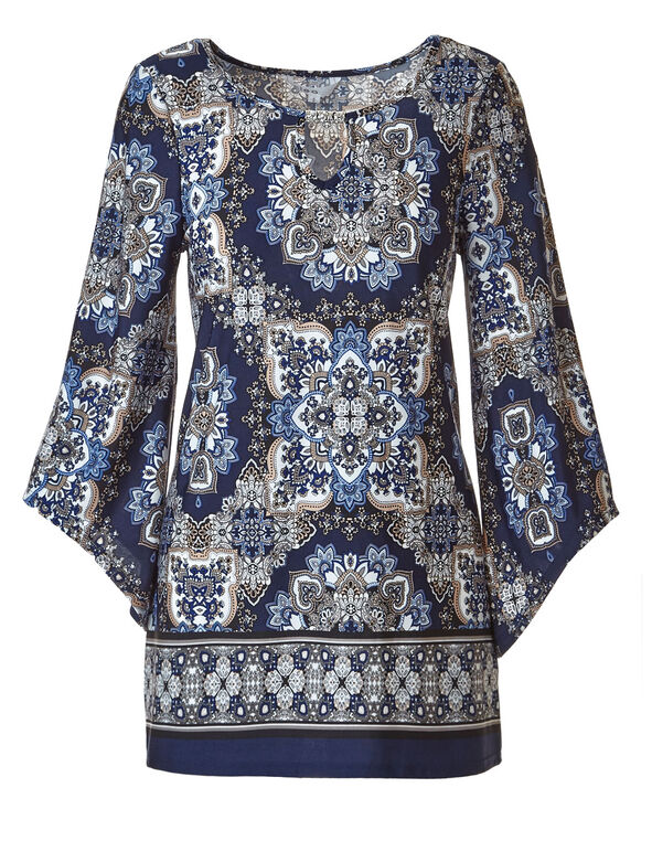 Navy Printed Scoop Neck Tunic, Navy, hi-res