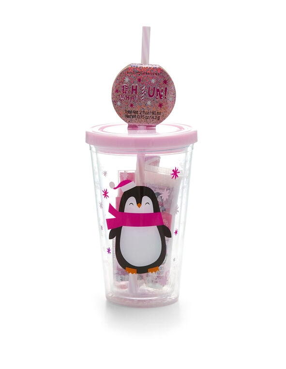 Pink Penguin Cup Cosmetic Bundle, Pink, hi-res