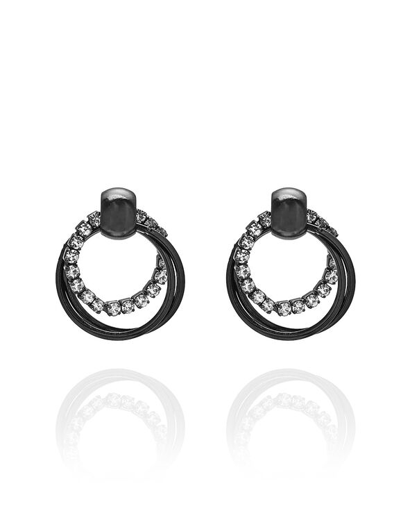 Hematite Triple Hoop Earring, Hematite, hi-res