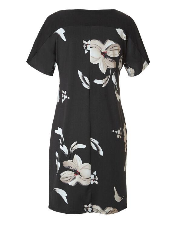 Black Floral Cold Shoulder Dress, Black/Pink, hi-res