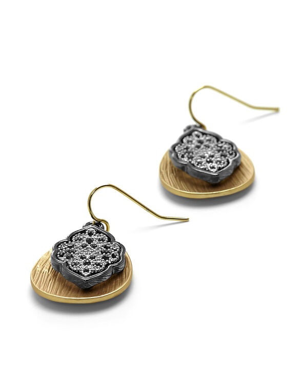 Layered Filigree Drop Earrings, Gold/Silver/Hematite, hi-res