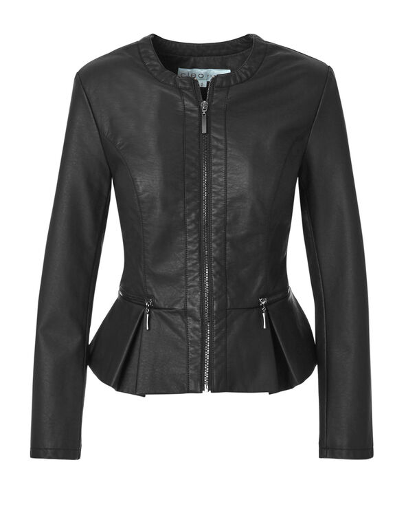 Black Peplum Faux Leather Jacket, Black, hi-res