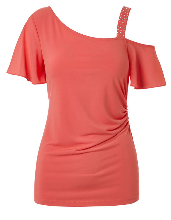 Coral Beaded One Strap Top, Coral, hi-res