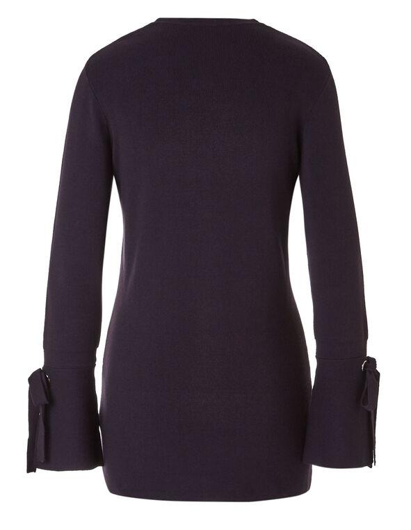 Purple Bell Sleeve Open Cardigan, Purple, hi-res