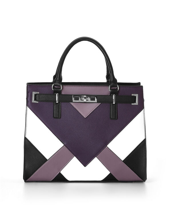 Purple Structured Chevron Handbag, Purple, hi-res