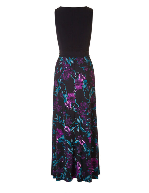Purple Floral Maxi Dress, Black, hi-res