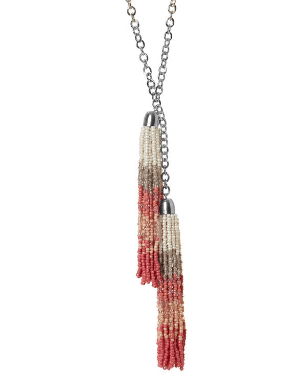 Coral Ombre Seed Bead Necklace, Coral, hi-res