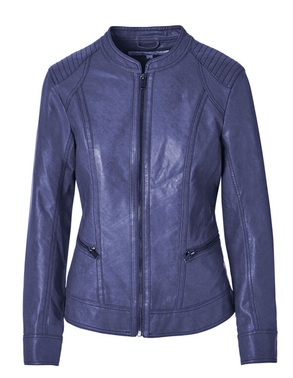 Ink Blue Faux Leather Jacket, Ink Blue, hi-res
