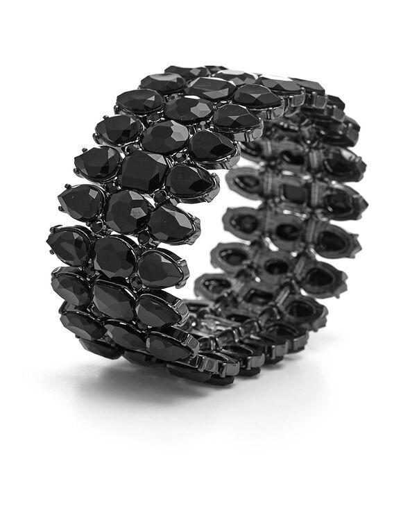 Black Stone Stretch Bracelet, Black, hi-res