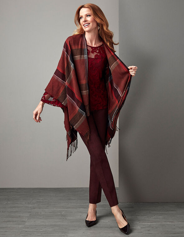 Brick Plaid Poncho, Brick, hi-res