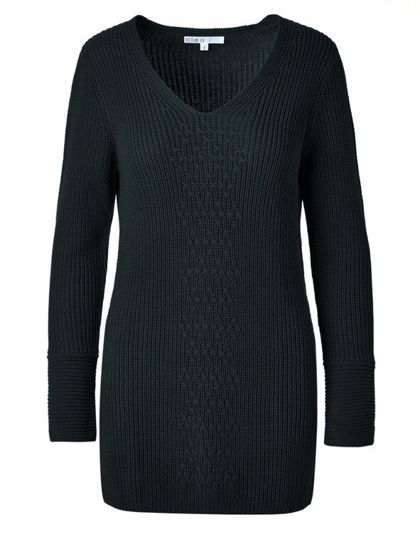 Peacock Mixed Stitch Tunic Sweater, Peacock, hi-res