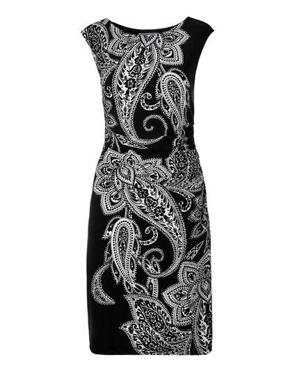 Paisley Print Shift Dress, Black/White, hi-res