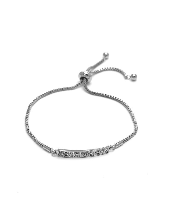 Silver Pave Bar Adjustable Bracelet, Silver, hi-res