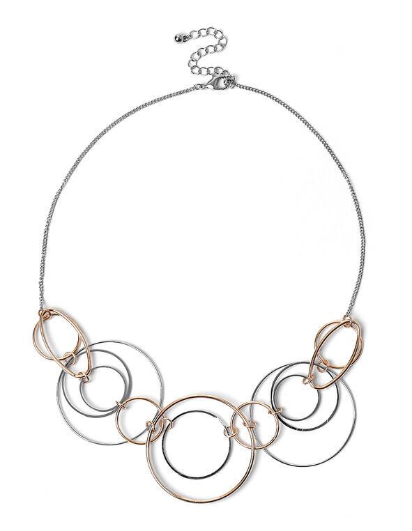 Round Linked Short Necklace, Silver/Rose Gold, hi-res