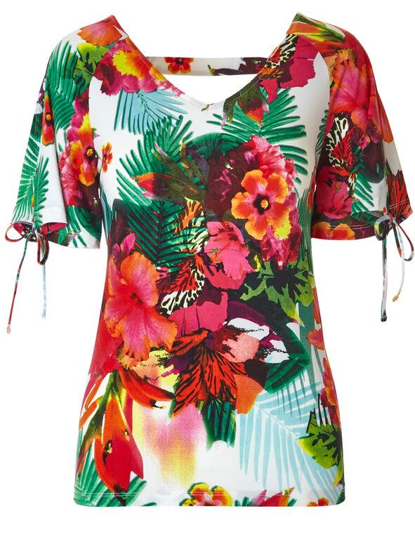 Floral Printed Tie Sleeve Top, White, hi-res