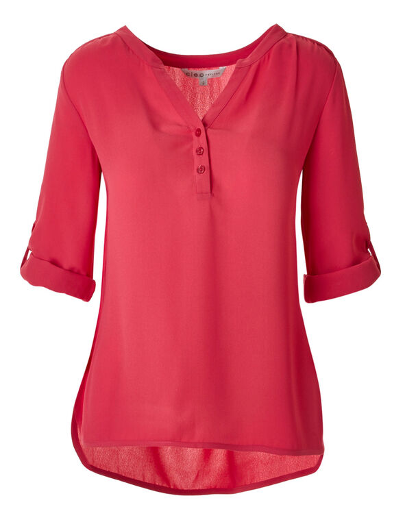 Fresh Pink Roll Sleeve Blouse, Fresh Pink, hi-res